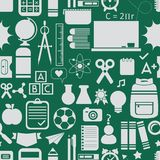 School and educational icons, background, and seamless pattern Stock Image