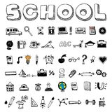 School and educational icons. On gray background Stock Photos