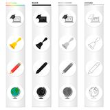 School, educational institution and other web icon in cartoon style.Geography, drawing, objects icons in set collection. Stock Photography