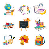 School And Eduction Related Sets Of Objects. Colorful Cute Stickers With School Inventory Items On White Background Royalty Free Stock Images