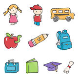 School Elements. Education related, cute and colorful illustrations Stock Image