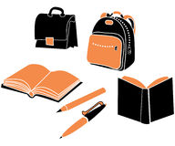 School elements. School bag, satchel, pencil, pen and books Stock Image