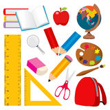 School Elements. Collection of various back to school and student objects Stock Image
