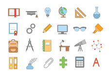 School elements colorful icons set. Set of 24 School elements colorful icons Royalty Free Stock Photography