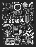 School elements doodles hand drawn line icon, eps10 Royalty Free Stock Photography