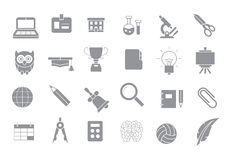School elements gray  icons set. Set of 24 School elements gray  icons Stock Photo