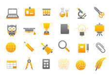 School elements gray-yellow vector icons set. Set of 24 School elements gray-yellow vector icons Stock Photo