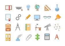 School elements  icons set. Set of 24 School elements  icons Stock Photography