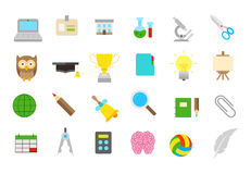 School elements isolated  icons set Royalty Free Stock Image