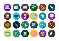 School elements round  icons set. Set of 24 School elements round  icons Royalty Free Stock Photos