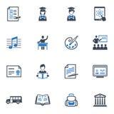 School en Onderwijs de Pictogrammen plaatsen 2 - Blauwe Reeks Royalty-vrije Stock Afbeeldingen