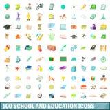 100 school en onderwijs geplaatste pictogrammen, beeldverhaalstijl Stock Fotografie