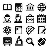 School en onderwijs geplaatste pictogrammen Vector Royalty-vrije Stock Afbeeldingen