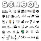 School en onderwijspictogrammen Stock Foto's