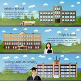 School en universitaire gebouwenvector vector illustratie