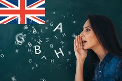 School, English lesson ourse of studying a foreign language. stock image