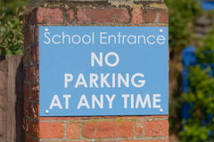 School Entrance - No parking at any time sign. Outside school driveway Royalty Free Stock Images
