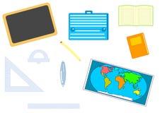 School equipment. Set of illustrated school object notebook, book, world map, geometric set, blackboard, pen, pencil, schoolbag on white background Stock Photos