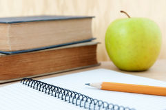 School equipment with apple Stock Photo