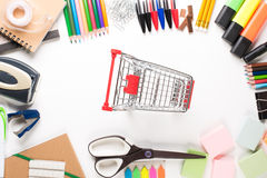 School equipment with caddy Royalty Free Stock Images