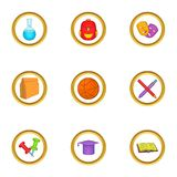 School equipment icons set, cartoon style Royalty Free Stock Images