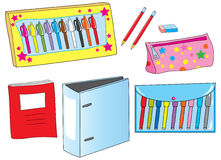 School equipment. Including pencils,pencil case, eraser,maker pens,gel pens,copy book, and project folder Royalty Free Stock Photos