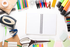 School equipment with notebook Stock Photography