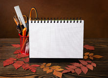 School equipment with pencils,  brushes, notebook  and autumn leaves. Royalty Free Stock Photography