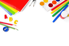 School equipment with pencils, brushes and  paints Royalty Free Stock Image
