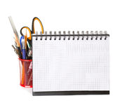 School equipment with pencils,   notebook. Royalty Free Stock Image