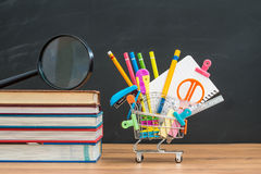 School equipment with textbook on desk for back to school Stock Photos