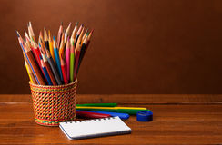 School equipment  on wood background. Royalty Free Stock Photos