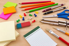 School equipment on writing desk Royalty Free Stock Image