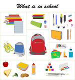 School essentials flat vector set Royalty Free Stock Photo
