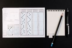 School exam answer sheet and pen. Standard test form or answer sheet. Royalty Free Stock Photo