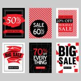 Sales Discount Poster Set In Variations With Modern Red And Black Design Stock Photos