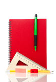 School exercise-book. With school stationery  on white background Stock Photography