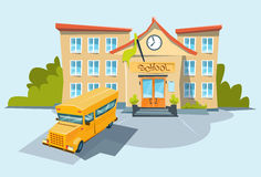 School Exterior Yellow Bus Royalty Free Stock Photography