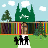 School fence made from pencils Royalty Free Illustration