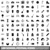 100 school festival icons set, simple style. 100 school festival icons set in simple style for any design vector illustration Royalty Free Stock Photo
