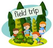 School Field Trip in the Nature. Illustration Royalty Free Stock Photography