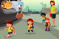 School field trip to a zoo. A vector illustration of school field trip to a zoo Stock Photo