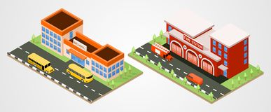 School and fire station. Department isometric. Vector city buildings Royalty Free Stock Photo