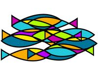 School of fish Art stock photo