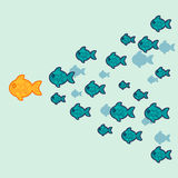 The school of fish. Concept of leadership. Vector illustration Royalty Free Stock Photo