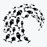 School of fish. A group of silhouette fish swim in a circle. Marine life. Vector illustration. Tattoo. School of fish. A group of silhouette fish swim in a Royalty Free Stock Photography