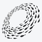 School of fish. A group of silhouette fish swim in a circle. Marine life. Vector illustration. Logo. School of fish. A group of silhouette fish swim in a circle Stock Image