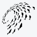 School of fish. A group of silhouette fish swim in a circle. Marine life. Vector illustration. Logo. School of fish. A group of silhouette fish swim in a circle Royalty Free Stock Photography