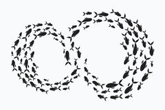 School of fish. A group of silhouette fish swim in a circle. Marine life. Vector illustration. Tattoo. School of fish. A group of silhouette fish swim in a Royalty Free Stock Photo