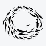 School of fish. A group of silhouette fish swim in a circle. Marine life. Vector illustration. Tattoo. Logo fishes. School of fish. A group of silhouette fish Royalty Free Stock Images